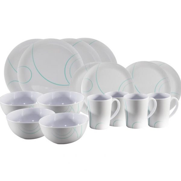 16 Piece Melamine Dinner Set TURQUOISE SWIRL